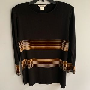 Exclusively Misook Black Striped Top